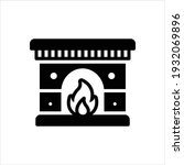 vector black icon for fireplace | Shutterstock .eps vector #1932069896