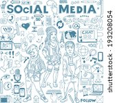 Hand drawn vector illustration set of social media sign and symbol doodles elements. Group of modern  teenagers.