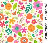 cute hand drawn floral seamless ... | Shutterstock .eps vector #1932086759