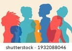 multi ethnic women silhouette.... | Shutterstock .eps vector #1932088046