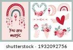 set card clipart bohemian... | Shutterstock .eps vector #1932092756