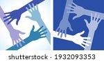 four hands icon set. volunteer... | Shutterstock . vector #1932093353