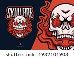 Fire Skull Mascot Esport Logo...