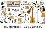 Music Items Doodle Icons Set....