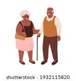 happy old couple of black... | Shutterstock .eps vector #1932115820