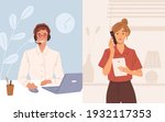 woman with phone calling to... | Shutterstock .eps vector #1932117353