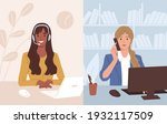 businesswoman at workplace... | Shutterstock .eps vector #1932117509