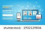 laptop with graphs and charts... | Shutterstock .eps vector #1932129836