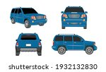 set of cars in blue color... | Shutterstock .eps vector #1932132830