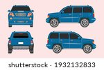 set of cars in blue color...   Shutterstock .eps vector #1932132833
