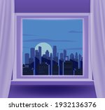 open window interior home with... | Shutterstock .eps vector #1932136376