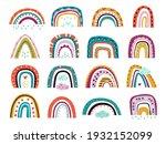 flat scandinavian rainbows....   Shutterstock .eps vector #1932152099
