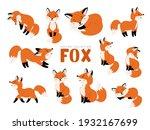 funny fox set. cartoon forest... | Shutterstock .eps vector #1932167699