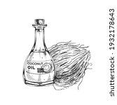 coconut oil bottle  retro hand... | Shutterstock .eps vector #1932178643