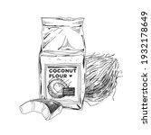 coconut flour package  retro... | Shutterstock .eps vector #1932178649