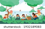 nature study forest composition ... | Shutterstock .eps vector #1932189083