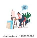 tired artist at easel flat... | Shutterstock .eps vector #1932253586
