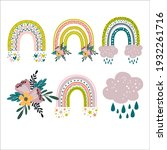rainbow with flowers set. hand...   Shutterstock .eps vector #1932261716