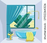 bathroom interior with bath ...   Shutterstock .eps vector #1932264326