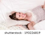 pregnant woman lying in bed and ... | Shutterstock . vector #193226819