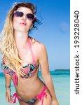 pretty model in sunglasses... | Shutterstock . vector #193228040
