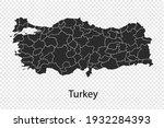 turkey map vector  black color. ... | Shutterstock .eps vector #1932284393