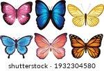 butterflies vector isolated... | Shutterstock .eps vector #1932304580