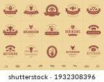 butcher shop logos set vector... | Shutterstock .eps vector #1932308396
