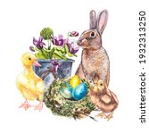 easter set and template clip... | Shutterstock . vector #1932313250