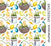 colorful easter seamless... | Shutterstock . vector #1932317243