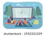 friends watching movie in open...   Shutterstock .eps vector #1932321329