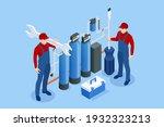 isometric installing or... | Shutterstock .eps vector #1932323213