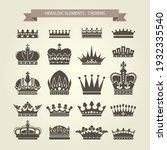 heraldic crowns set  monarchy... | Shutterstock .eps vector #1932335540