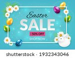 easter sale banner with eggs ...   Shutterstock .eps vector #1932343046