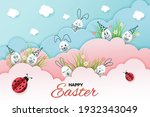 easter card with eggs and...   Shutterstock .eps vector #1932343049