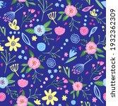 cute hand drawn flowers.... | Shutterstock .eps vector #1932362309