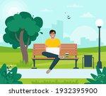 freelancer man sitting on a...   Shutterstock .eps vector #1932395900