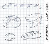 vector blue sketch set of fresh ... | Shutterstock .eps vector #1932404186