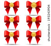 set of gold medals with a bow | Shutterstock . vector #193243904