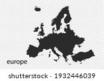 europe map vector  black color. ... | Shutterstock .eps vector #1932446039