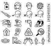 coronavirus icons set. symptoms ... | Shutterstock .eps vector #1932455576