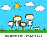 child's drawing of a happy...   Shutterstock .eps vector #193245623