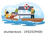 male character is saving people ... | Shutterstock .eps vector #1932529400