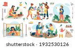 people planting flowers in...   Shutterstock .eps vector #1932530126