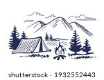 sketch nature with mountains...   Shutterstock .eps vector #1932552443