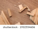 a pieces of wood with sawdust... | Shutterstock . vector #1932554606