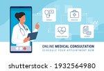 online doctor video calling on... | Shutterstock .eps vector #1932564980