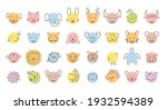 simple animal heads. circle... | Shutterstock .eps vector #1932594389