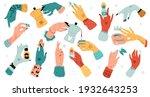 colorful women hands. cartoon...   Shutterstock .eps vector #1932643253