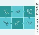 fauna icon set and crane bird...